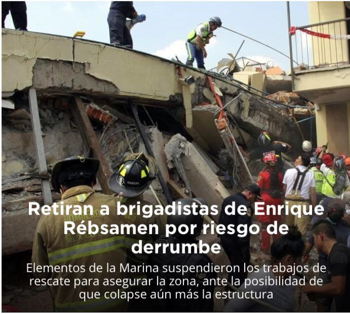 Retiran a brigadistas de Enrique Rébsamen por riesgo de derrumbe