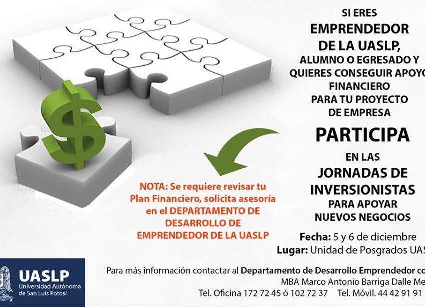 """UASLP invita a participar en las """"Jornadas de Inversionistas"""""""
