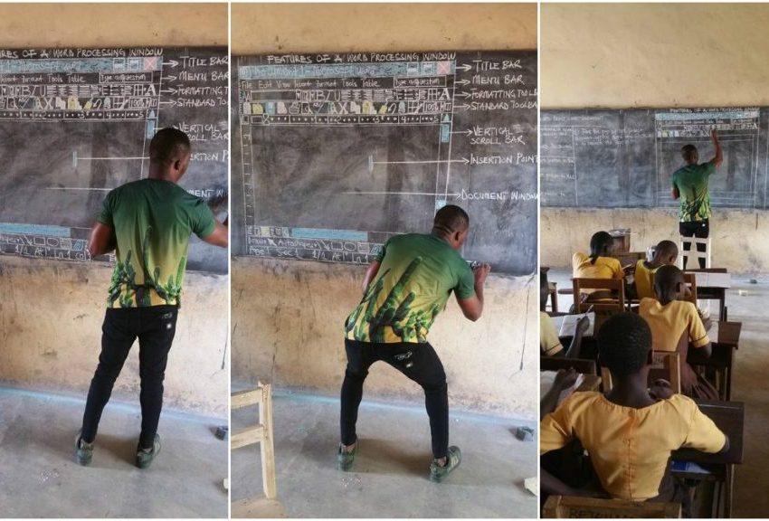 Maestro enseña a usar Word a sus alumnos sin computadora
