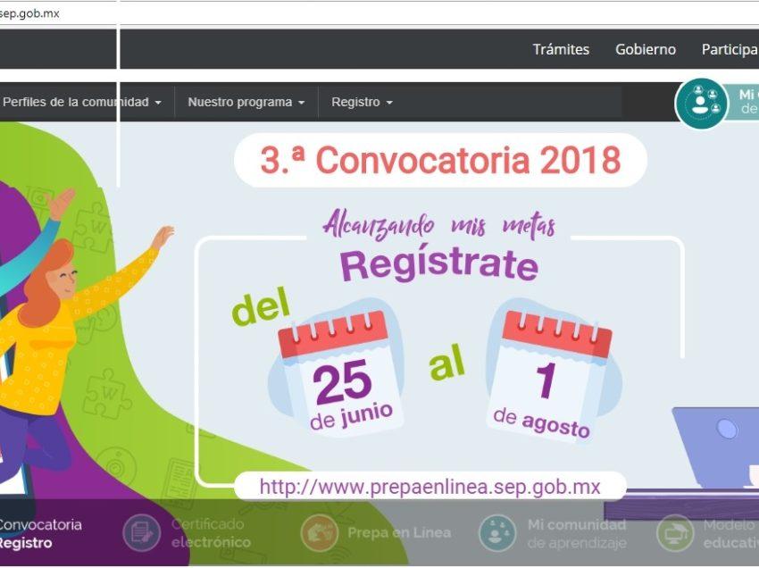 SEGE invita a participar en la 3° convocatoria de prepa en línea de la SEP